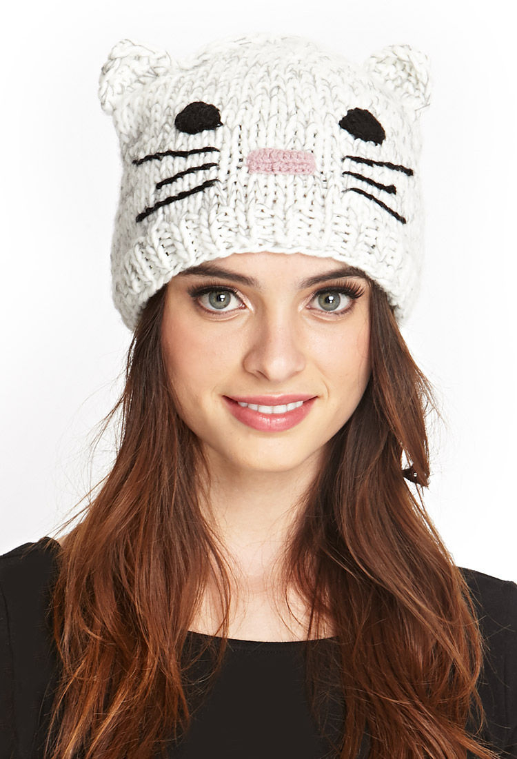 Lyst - Forever 21 Cat Ears Beanie in Natural 0138dcd95ab5