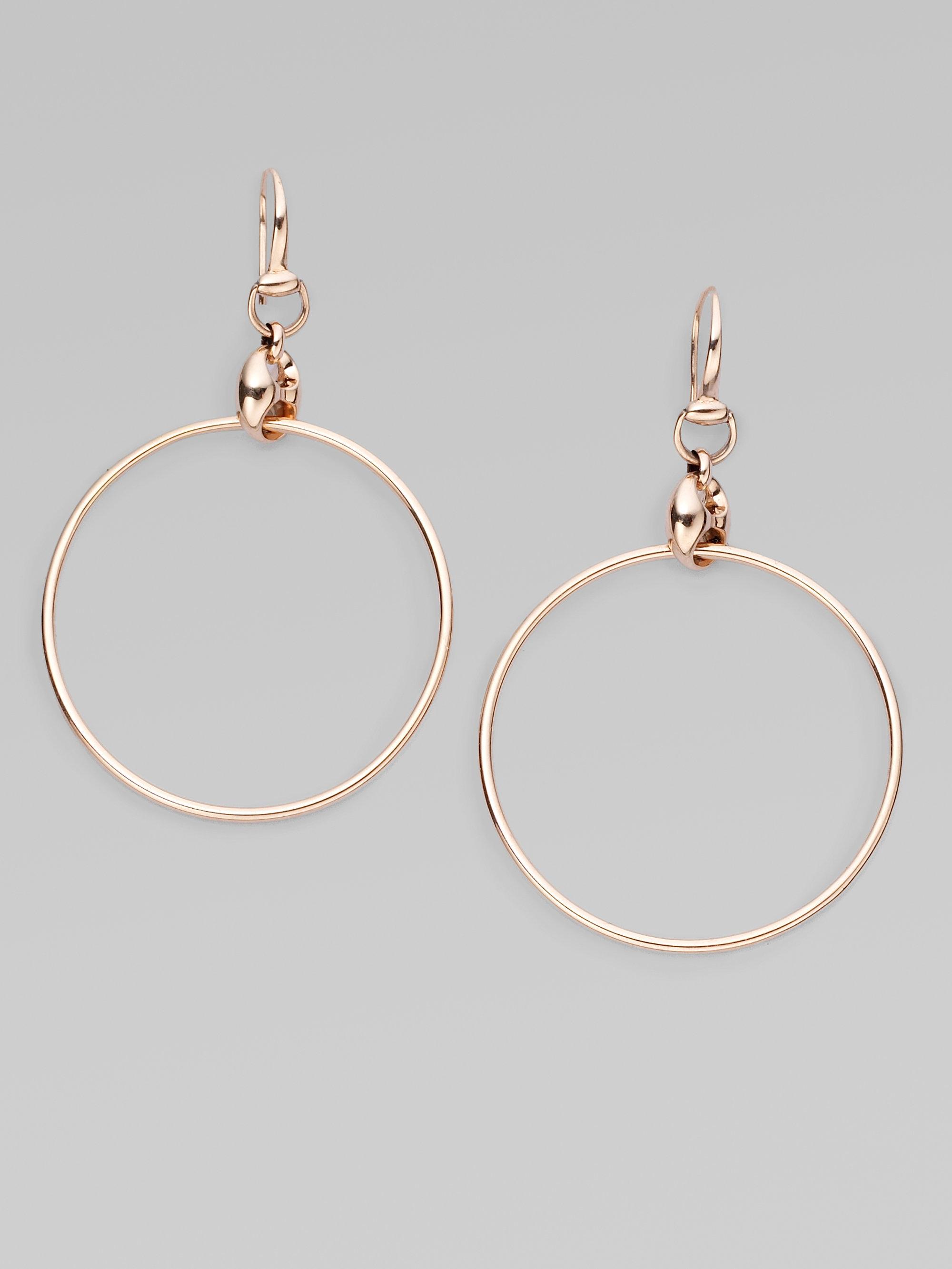 2fda0a71b Gucci 18k Pink Gold Hoop Earrings In Metallic Lyst