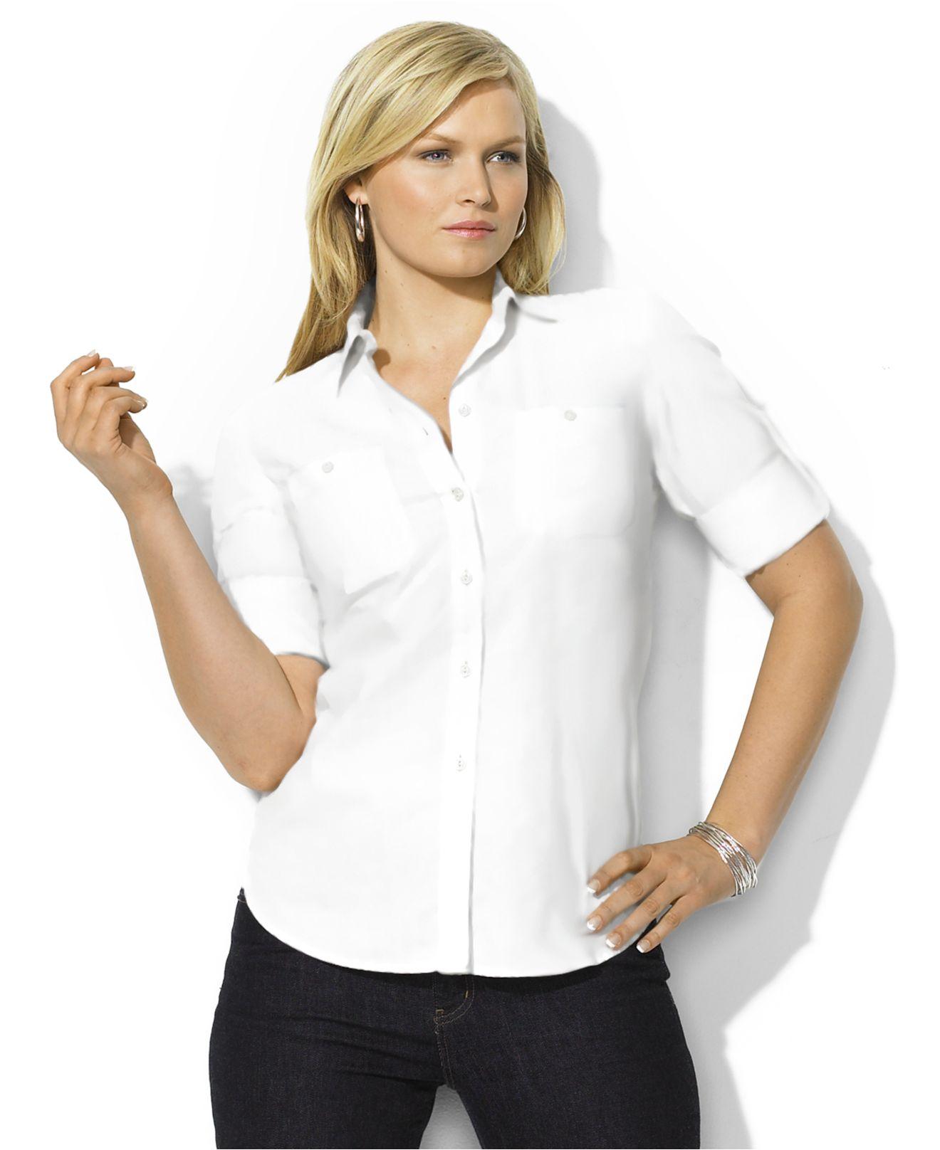 Lauren By Ralph Lauren Plus Size Roll Tab Sleeve Button