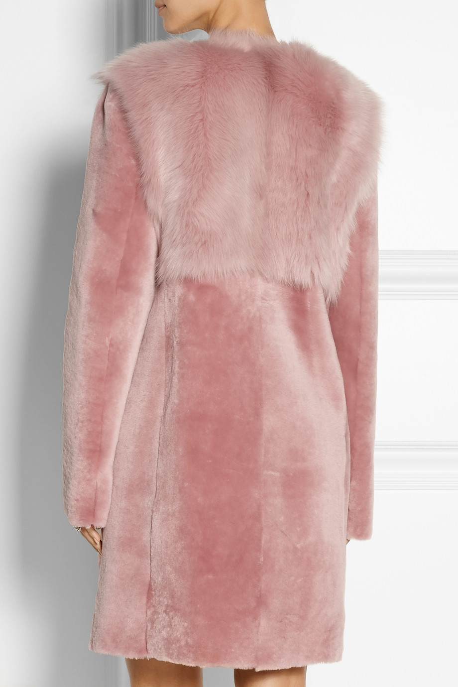 Dkny Shearling Coat in Pink | Lyst