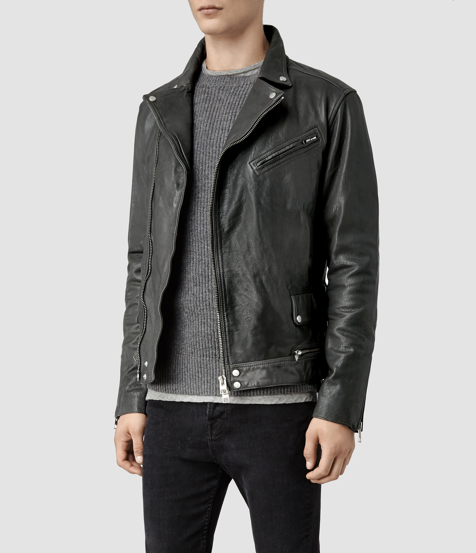 cefedeff42 AllSaints Akira Leather Biker Jacket in Gray for Men - Lyst