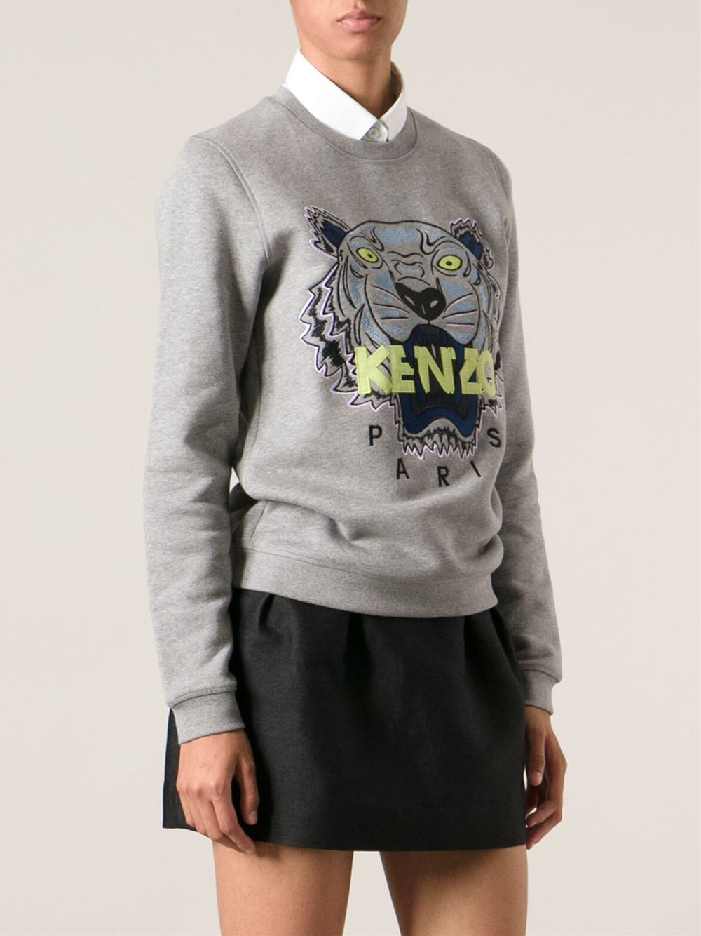lyst kenzo jungle logo sweatshirt in gray. Black Bedroom Furniture Sets. Home Design Ideas