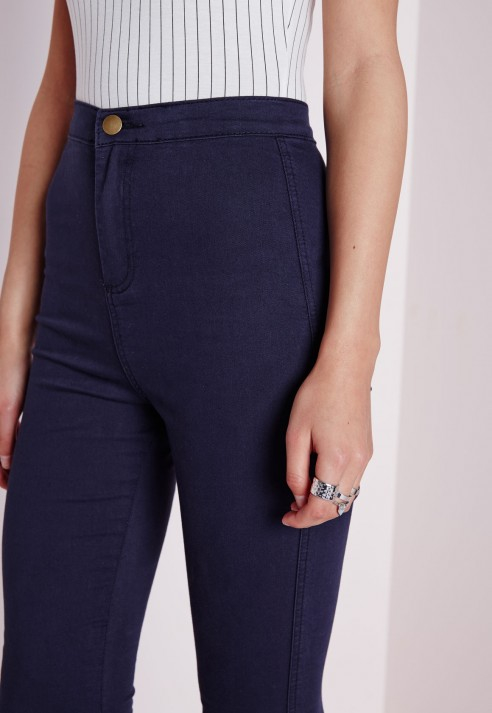 Missguided Jessica Super High Waisted Skinny Jeans Navy in Blue | Lyst