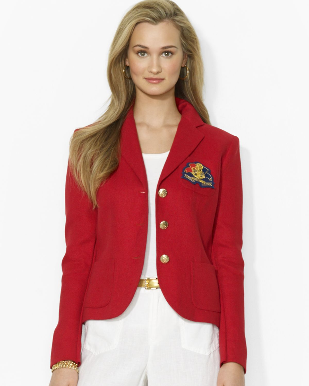 Ralph Lauren Fashion Show At New York: Ralph Lauren Lauren Logo Patch Linen Blazer In Red