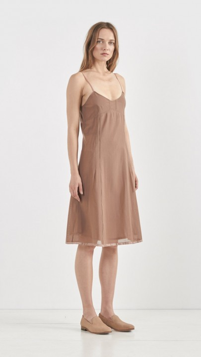 Organic by john patrick Mesh Bodice Slipdress in Brown
