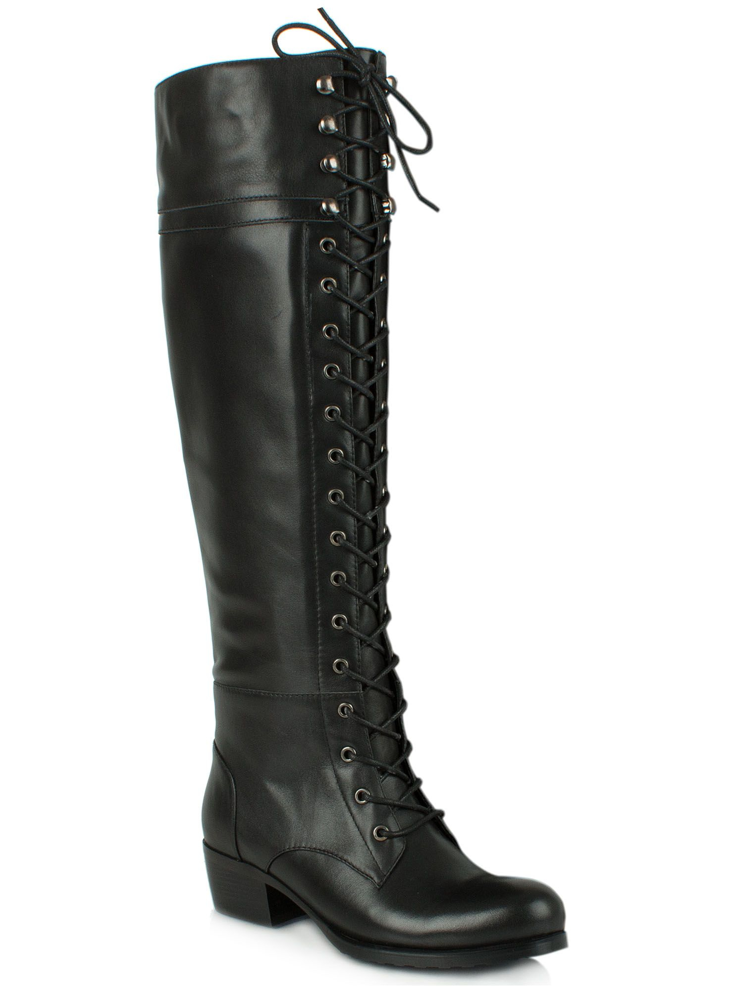 daniel priceless lace up front knee high boots in black lyst