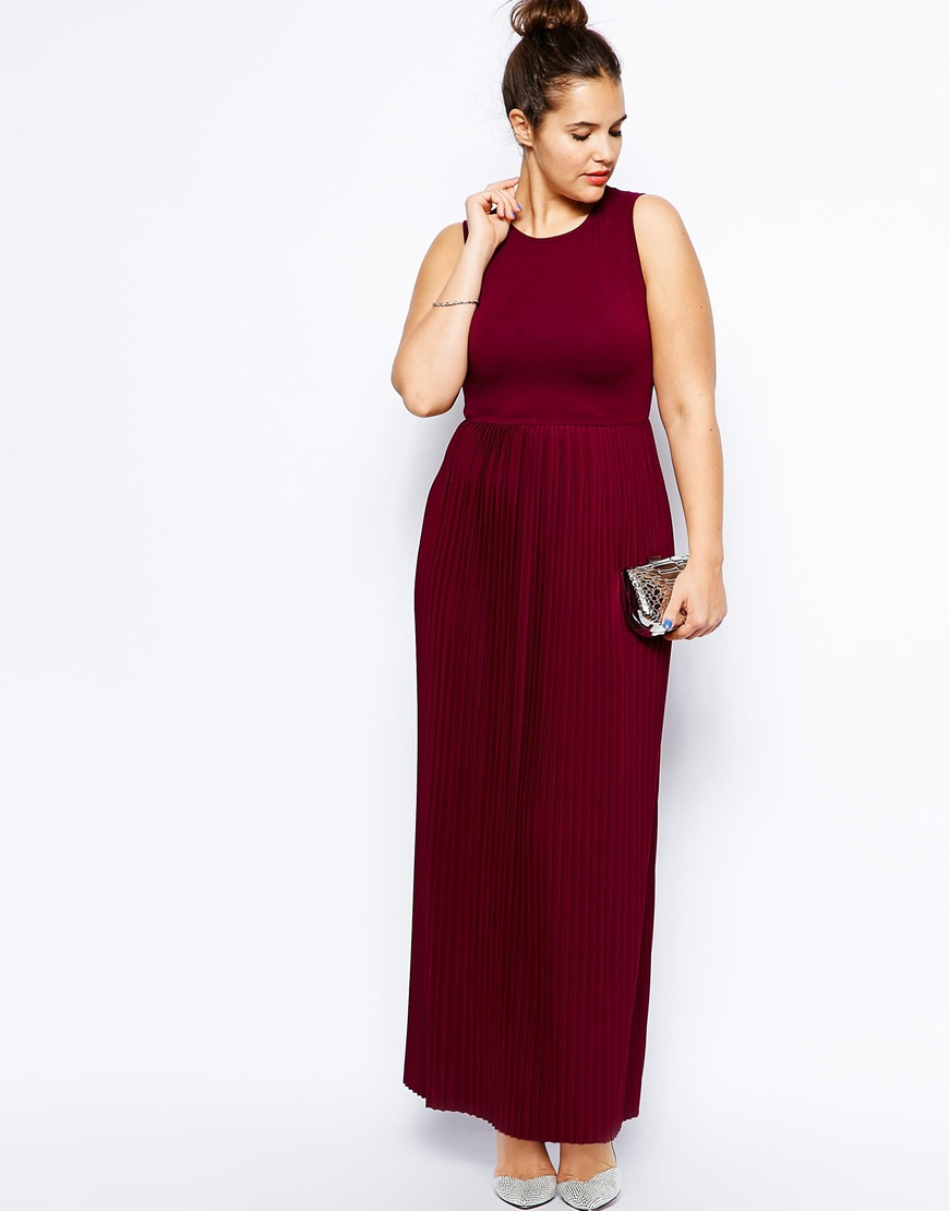 asos exclusive maxi dress with pleated skirt in purple lyst