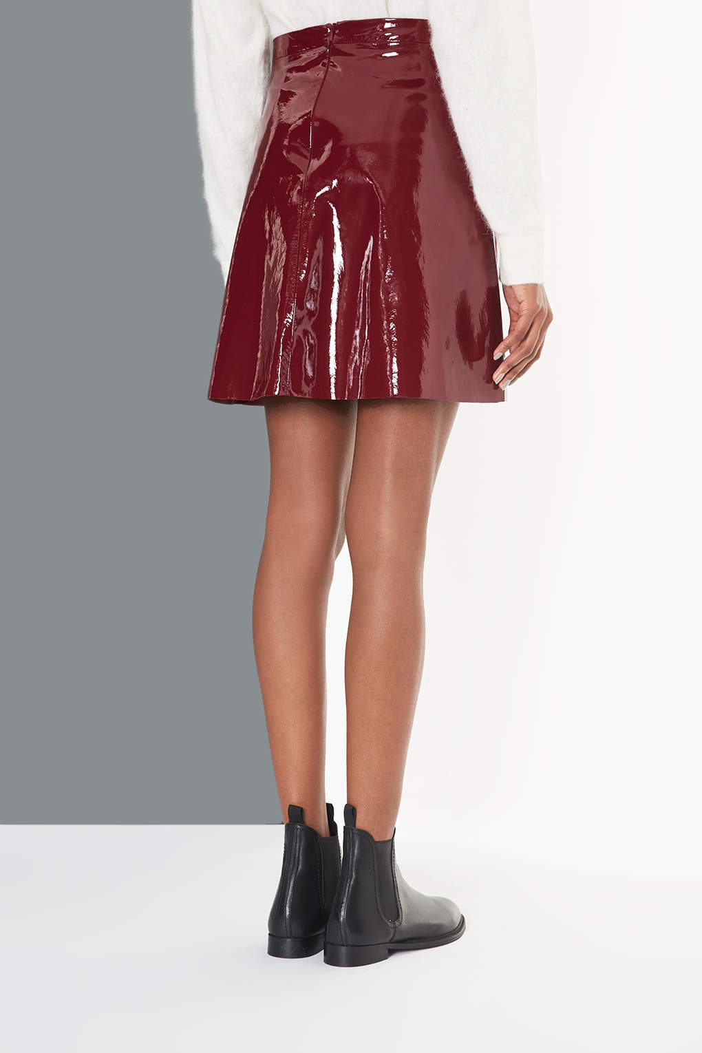 Lyst Topshop Patent A Line Skirt In Red