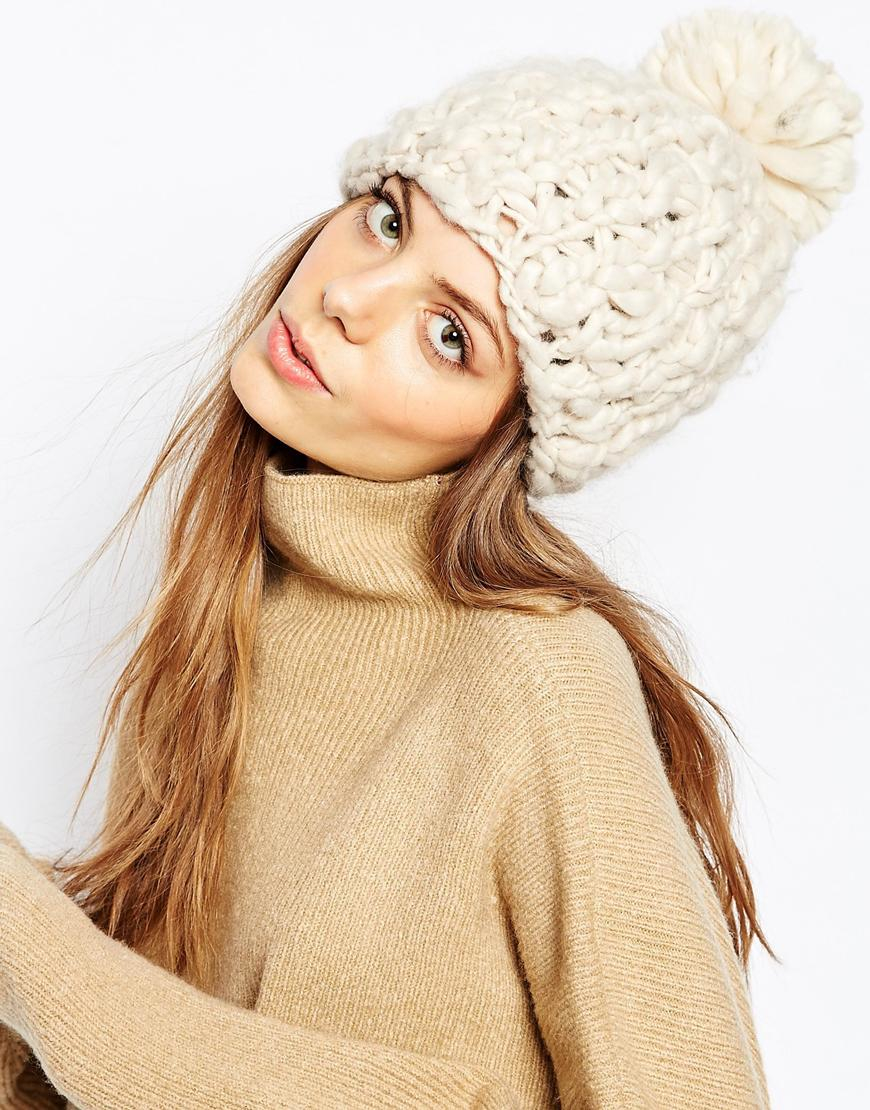 Lyst - Pieces Chunky Knit Bobble Beanie Hat in Natural b03e65b66f5