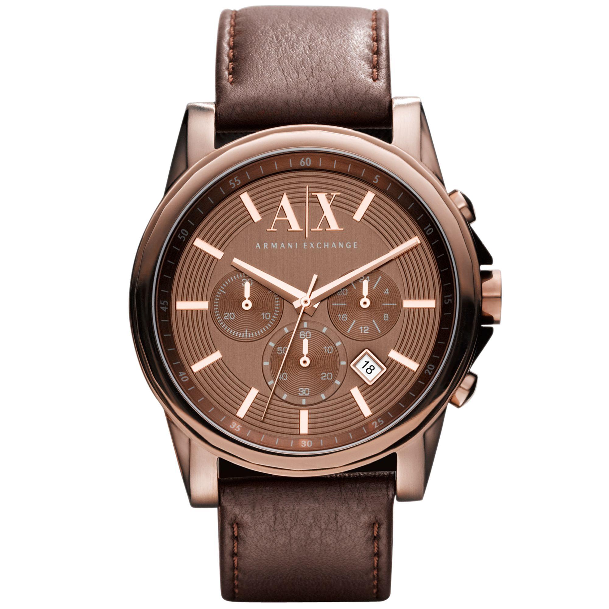 armani exchange mens chronograph brown leather