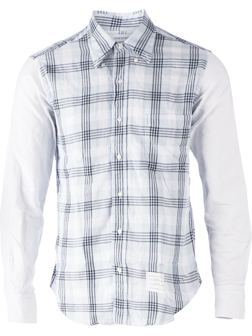 Lyst thom browne mixed print shirt in white for men for Thom browne white shirt