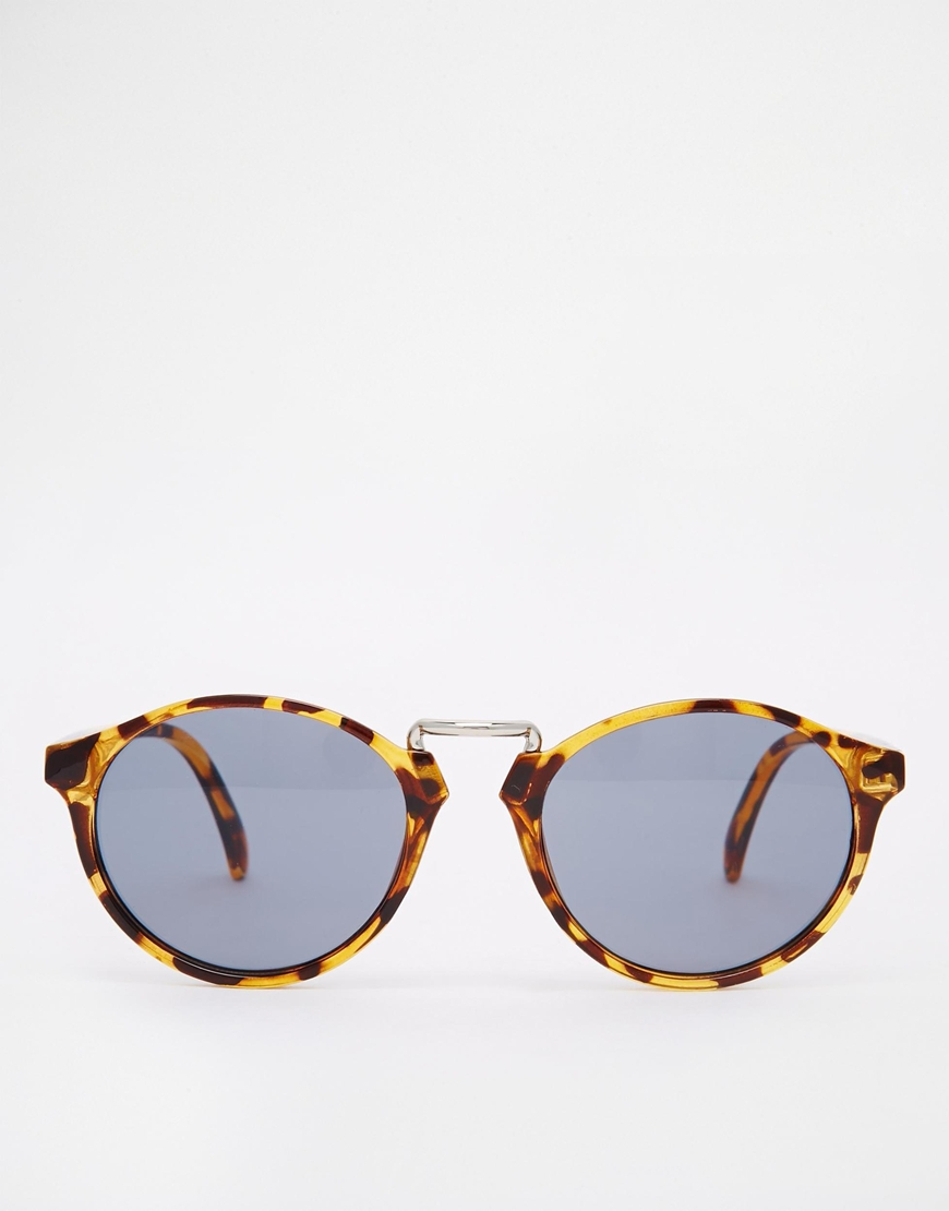 Asos Fine Frame Round Sunglasses With High Nose Bridge In -3768