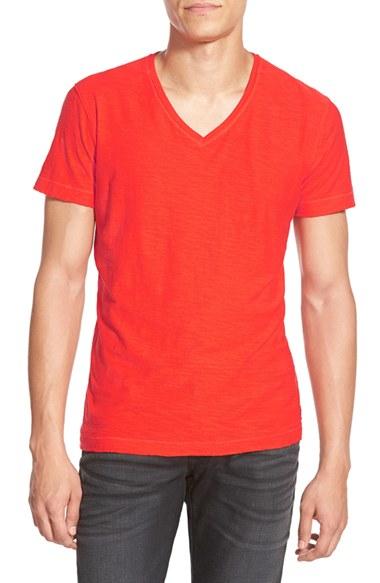 Lyst diesel 39 tossik 39 v neck t shirt in red for men for Mens diesel v neck t shirts