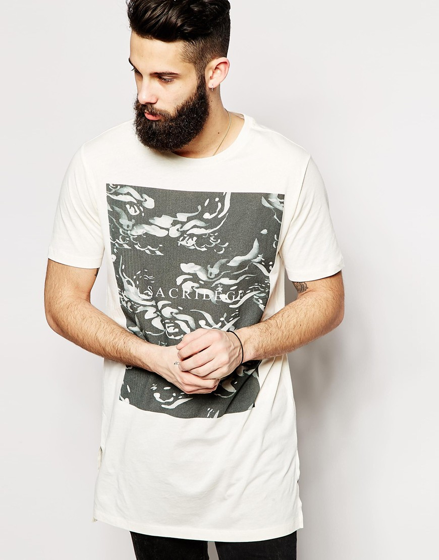Longline T-Shirt With Floral Woven Printed Pocket - White Asos Footaction Low Cost Cheap Price Pictures Sale Online b8jlV