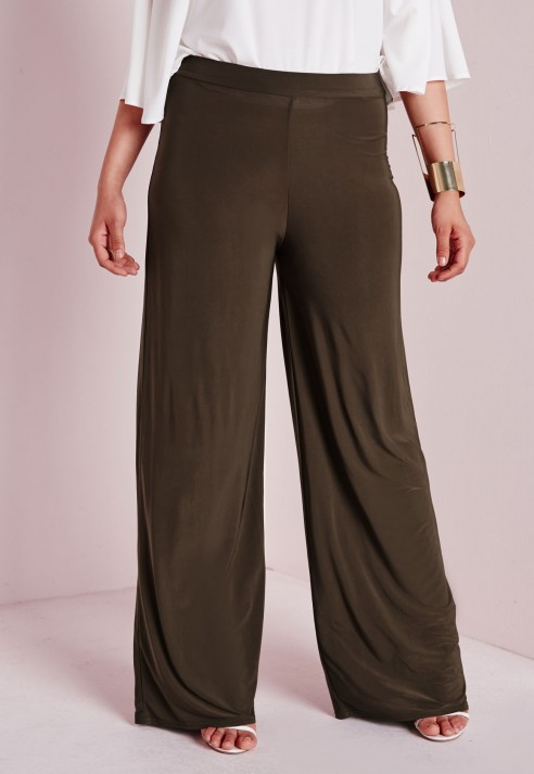 Plus size slinky knit pants