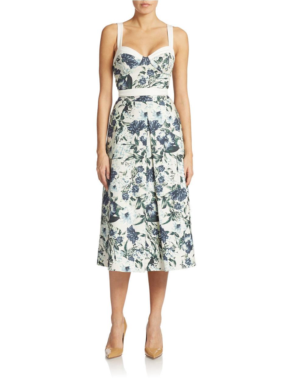 Abs by allen schwartz Floral Print Tea Length Skirt in Green  Lyst