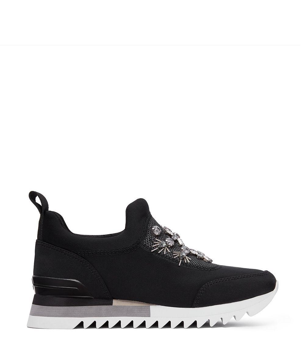 5c248fd6781fdc ... Lyst - Tory Burch Rosas Embellished Sawtooth Slip-on Sneaker in Black  most popular ca9af ...