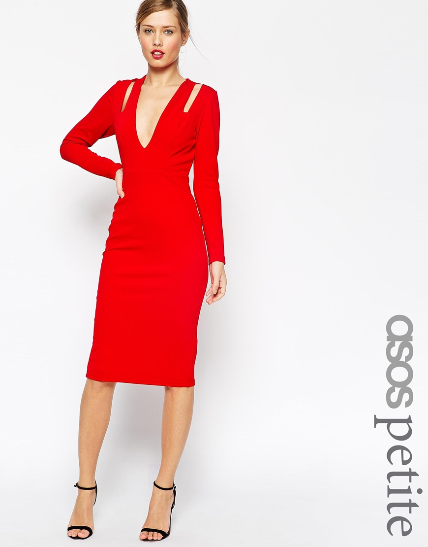 Lyst - Asos Petite Textured Crepe Plunge Long Sleeve Dress in Red