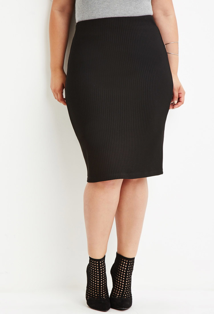 af04aaa252b Lyst - Forever 21 Plus Size Ribbed Pencil Skirt in Black