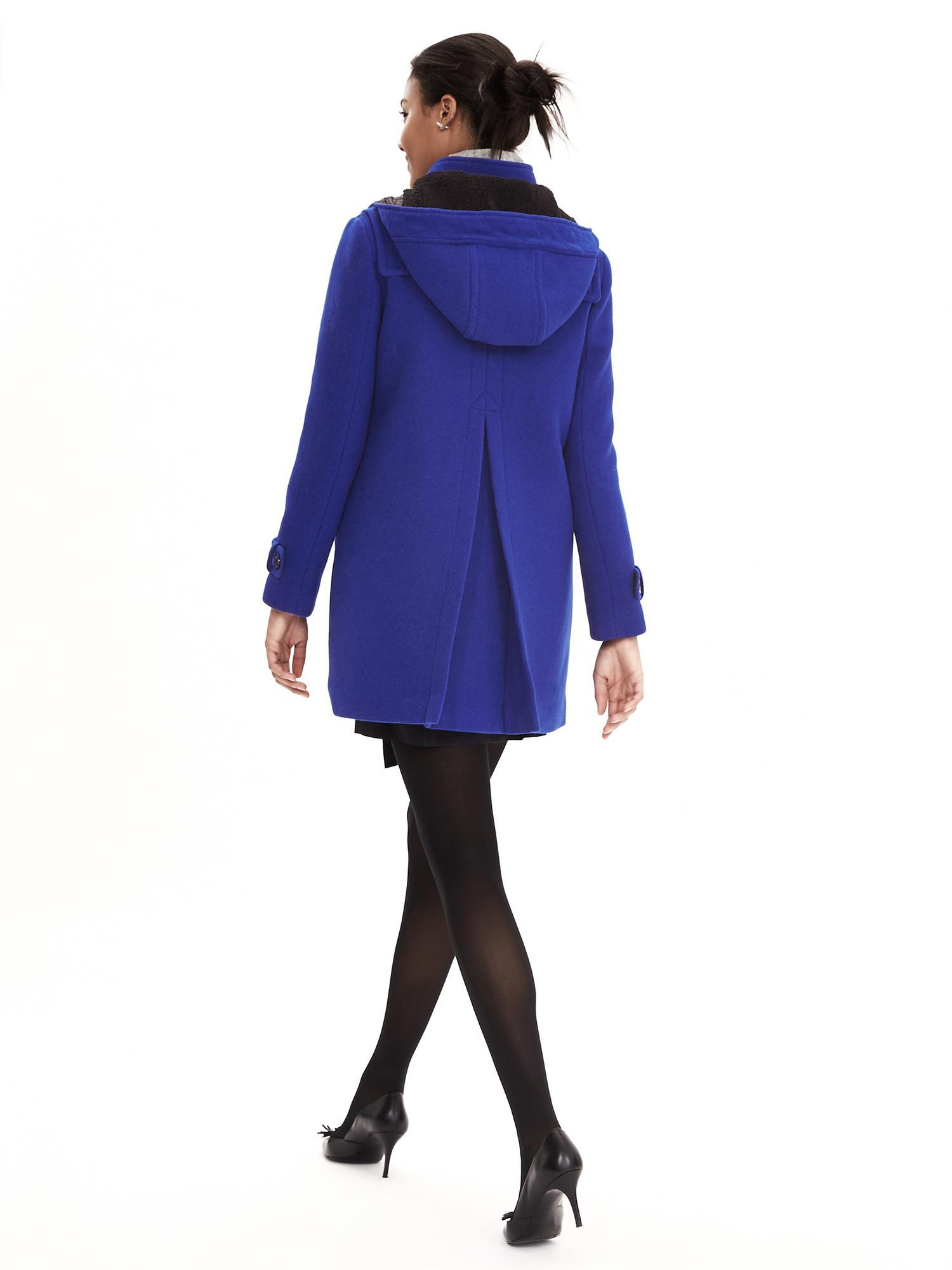 banana republic blue duffle coat in blue dreamy royal lyst. Black Bedroom Furniture Sets. Home Design Ideas