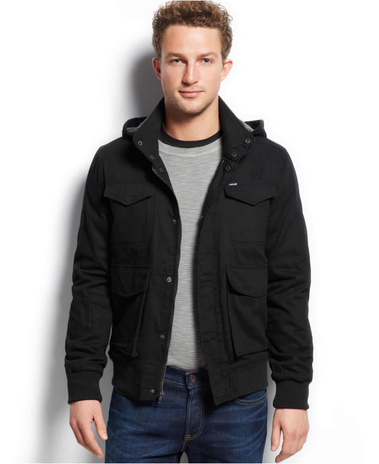 Lyst hurley clifton fleece lined jacket in black for men for Polyester lined flannel shirts