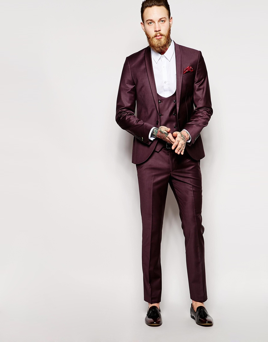 Noose and monkey Suit Jacket With Shawl Lapel In Super Skinny Fit