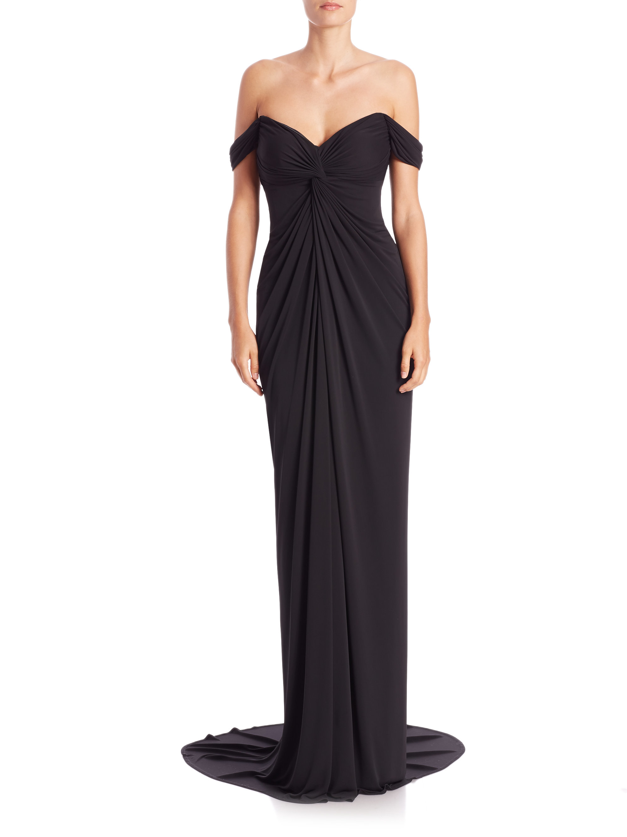 09735a58b686 David Meister Draped Jersey Off-the-shoulder Gown in Black - Lyst