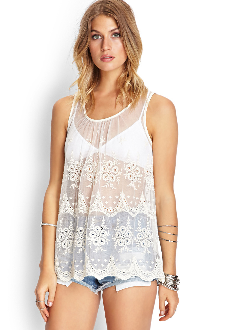 Forever 21 Crocheted Mesh Tank Top You Ve Been Added To