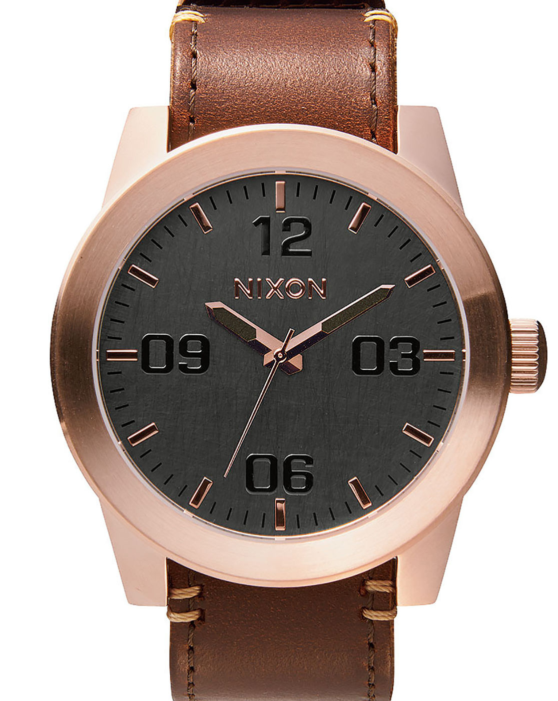 Nixon Corporal Watch In Rose Gold With Brown Horween ...