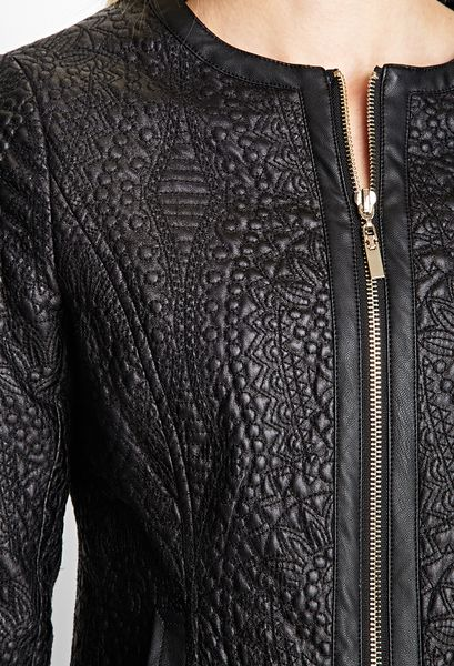 Embroidered Leather Jacket Embroidered Faux Leather