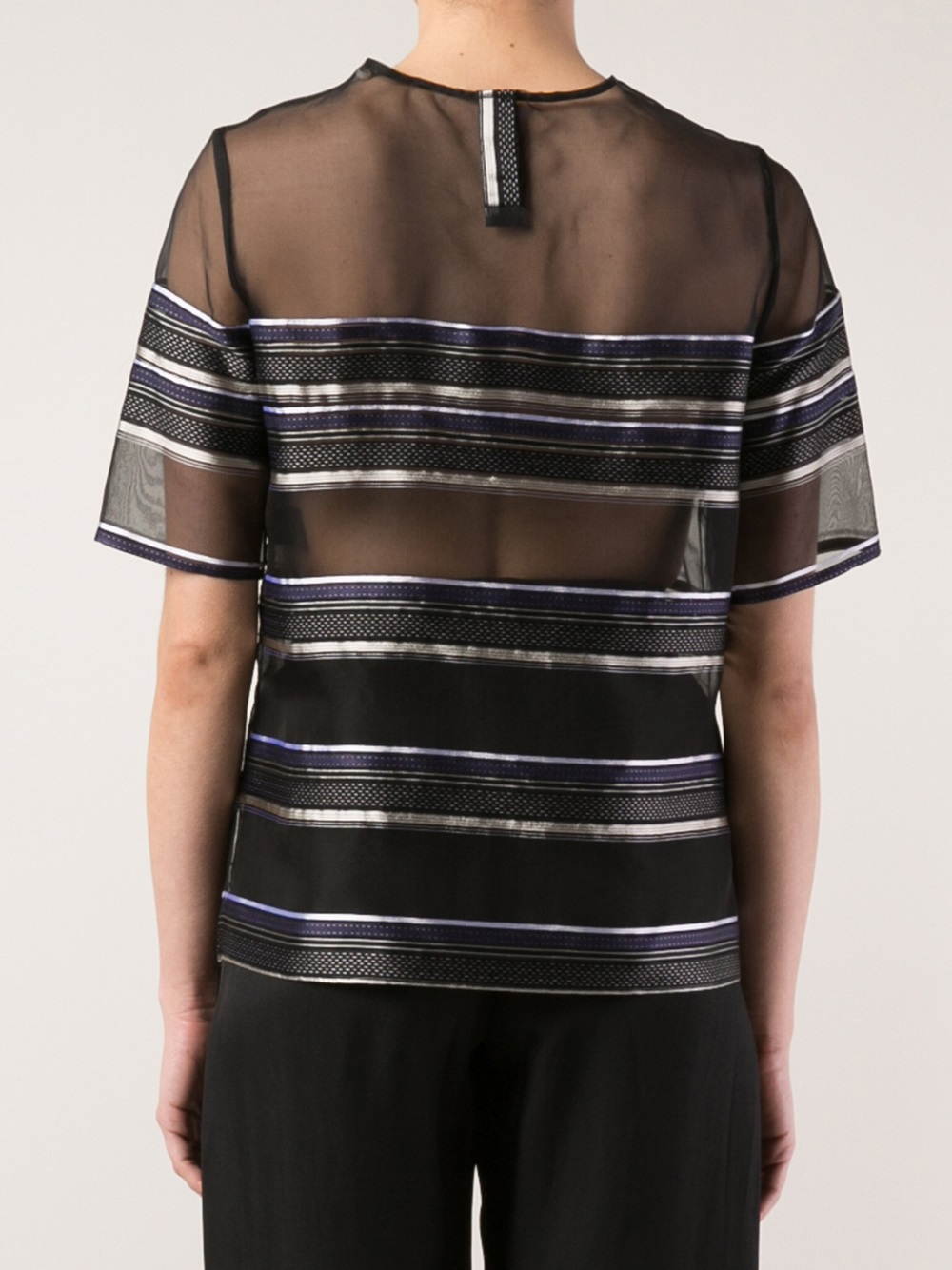 Lyst adam lippes sheer panel tshirt in black for Adam lippes t shirt