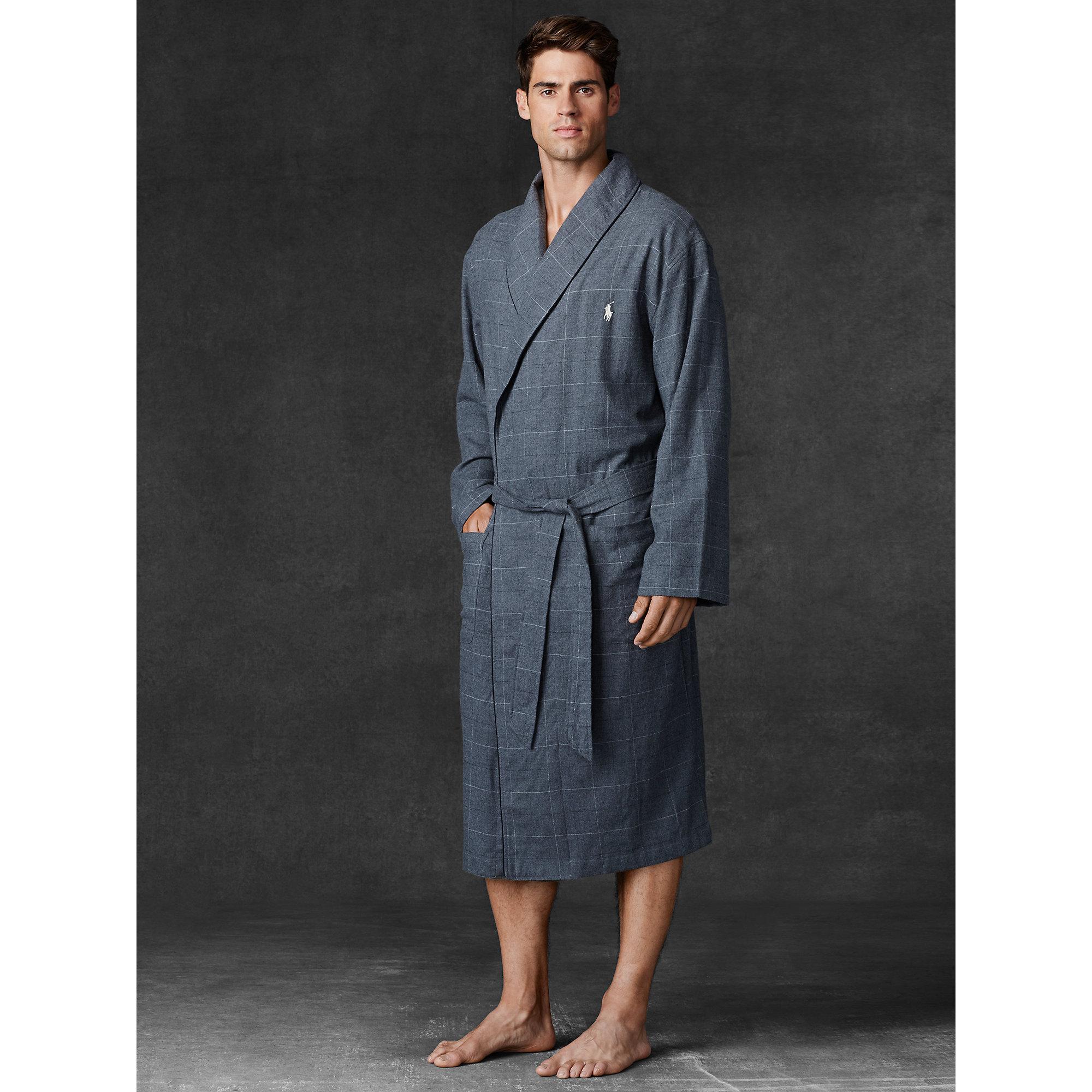 Lyst - Polo Ralph Lauren Flannel Shawl-Collar Robe in Gray for Men