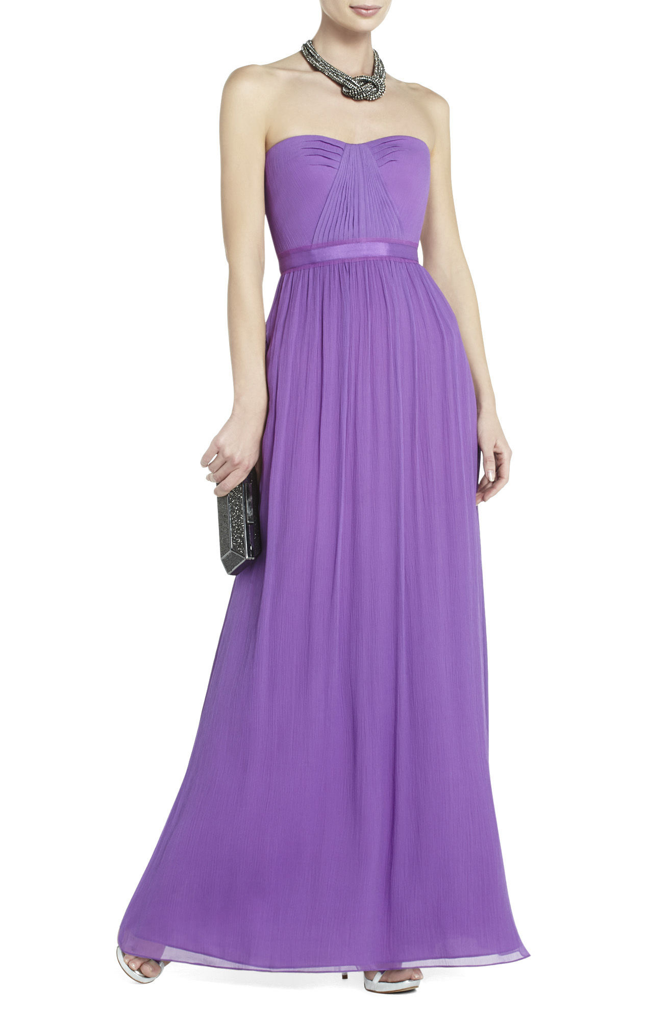 Lyst Bcbgmaxazria Amber Strapless Evening Gown In Purple Ambers Dress Navy Gallery