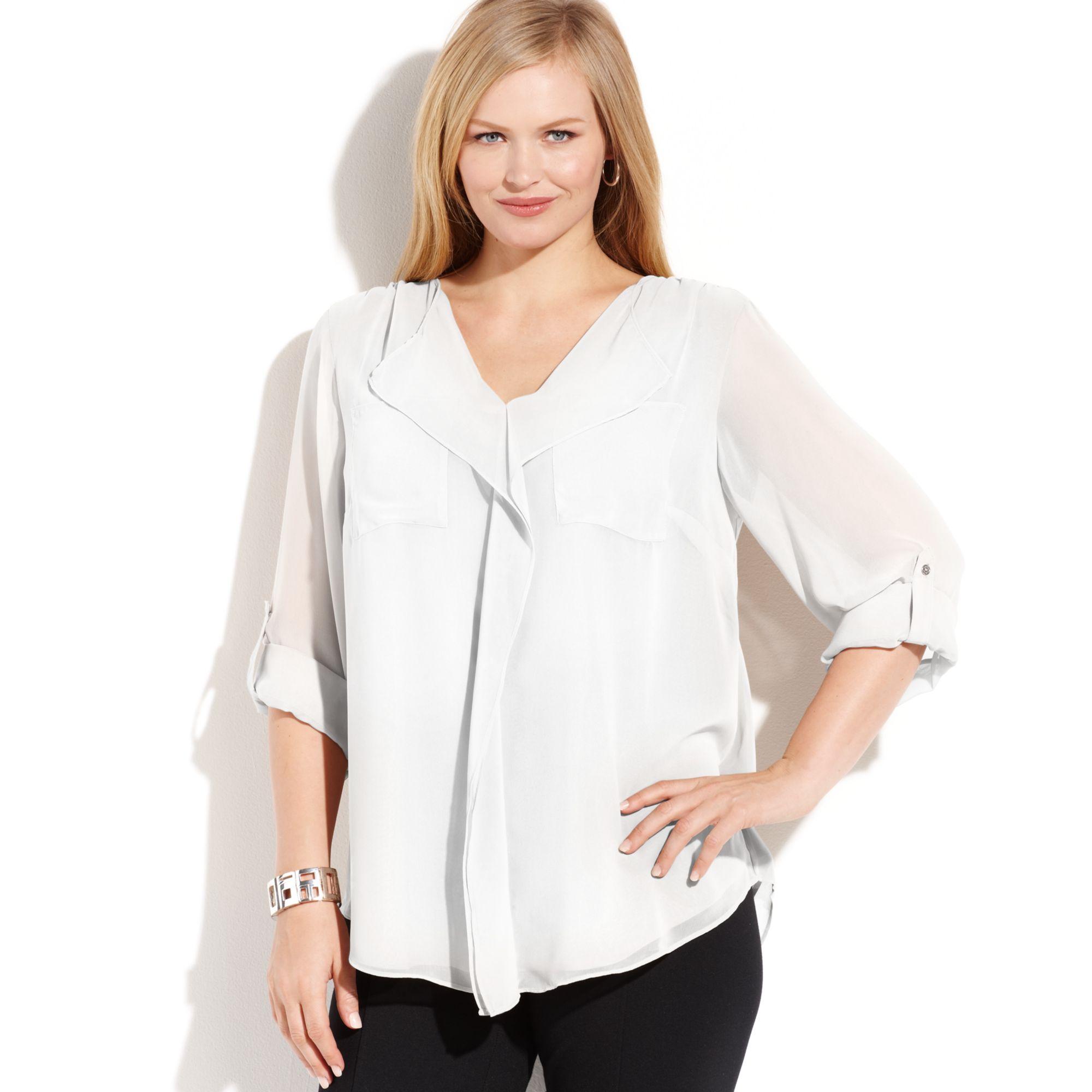 ef0f6f5e42ac5b Calvin Klein Plus Size Long Sleeve Ruffled Blouse in White - Lyst