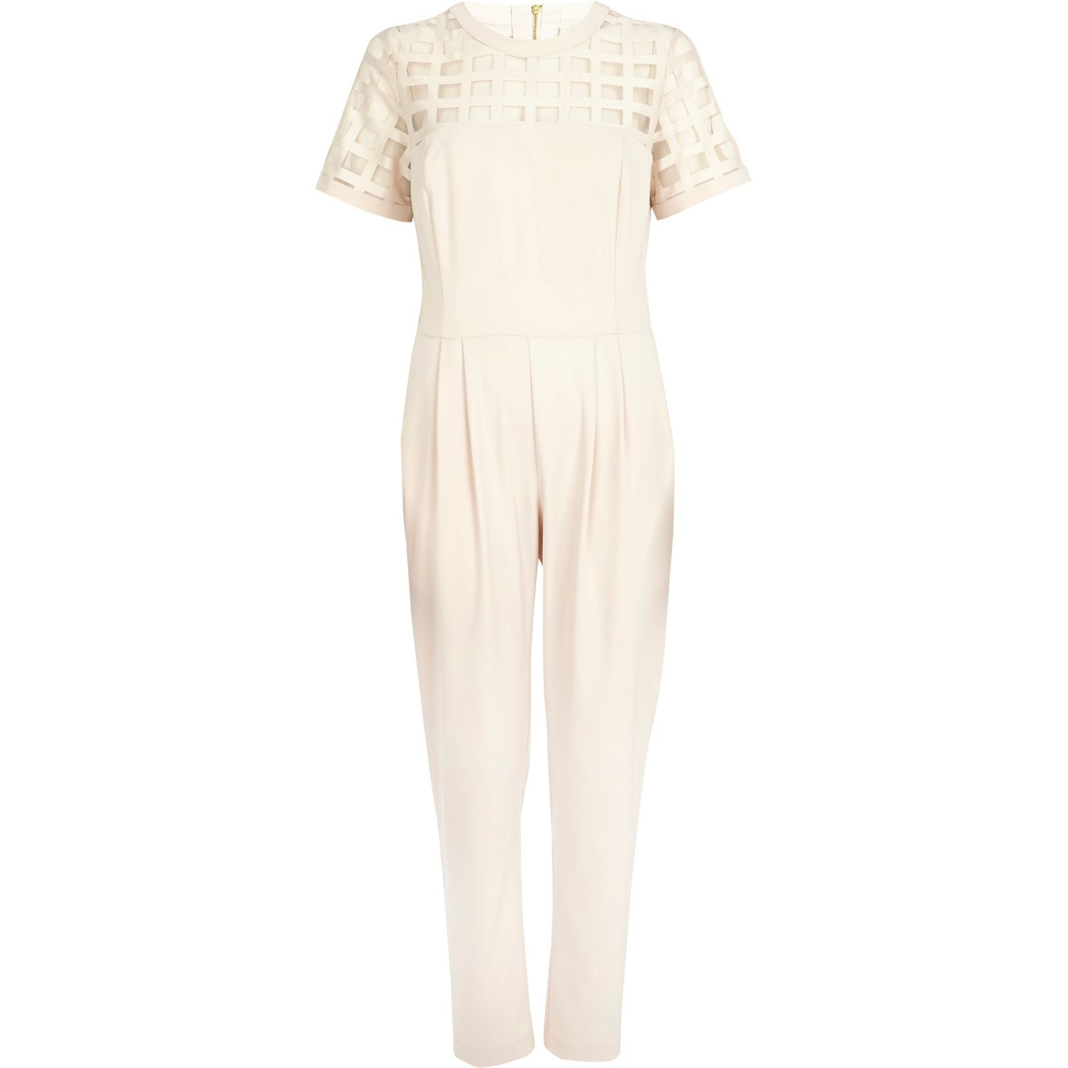 04a167c688ac River Island Light Pink Caged Mesh Smart Jumpsuit In Pink