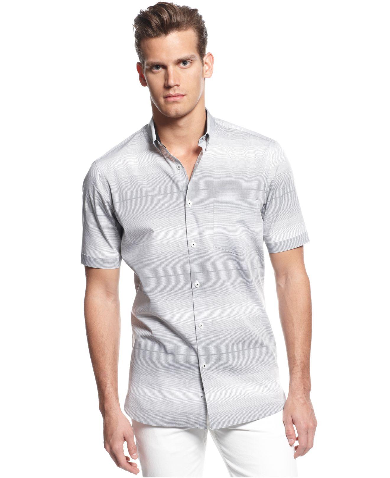 Lyst alfani big tall slim fit short sleeve striped for Slim fit tall shirts