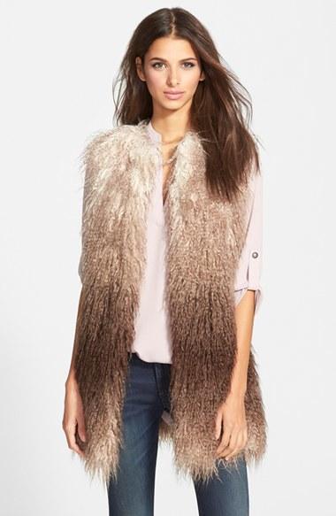 lyst steve madden ombre faux fur vest in brown