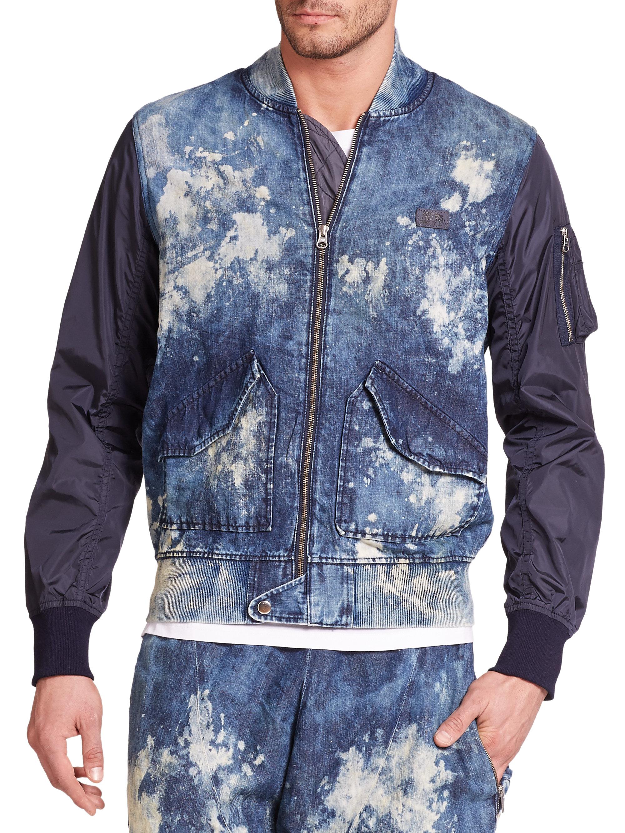 Prps Auriga Bleached Denim Amp Nylon Bomber Jacket In Blue