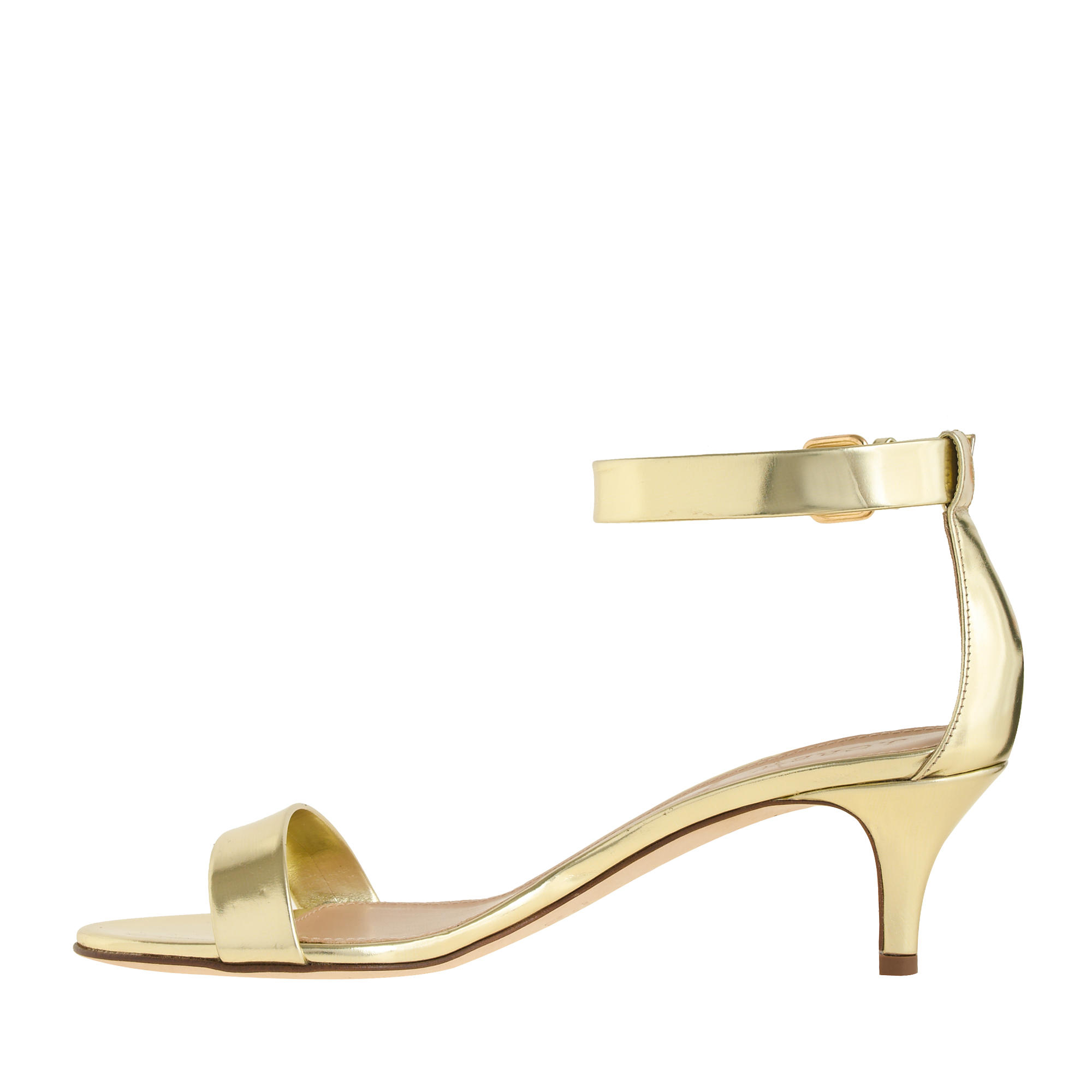 Gold Kitten Heel Sandals - Is Heel