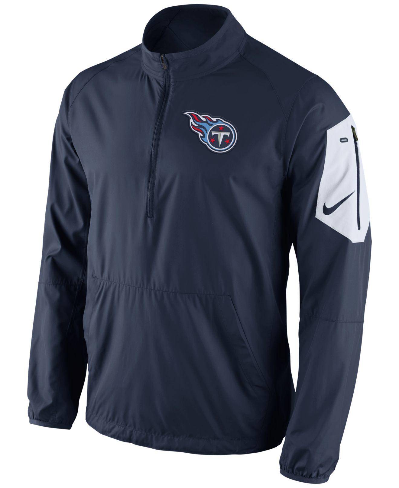 Lyst - Nike Men s Tennessee Titans Lockdown Half-zip Jacket in Blue ... ecc7abbcd