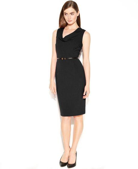 calvin klein sleeveless belted sheath dress in black