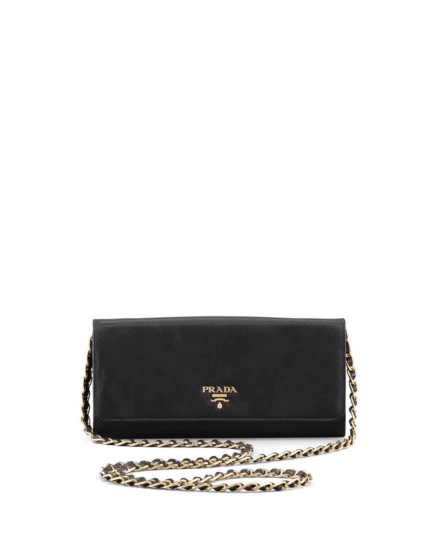 Prada Saffiano Leather Wallet-on-chain in Multicolor (LIGHT BROWN ...