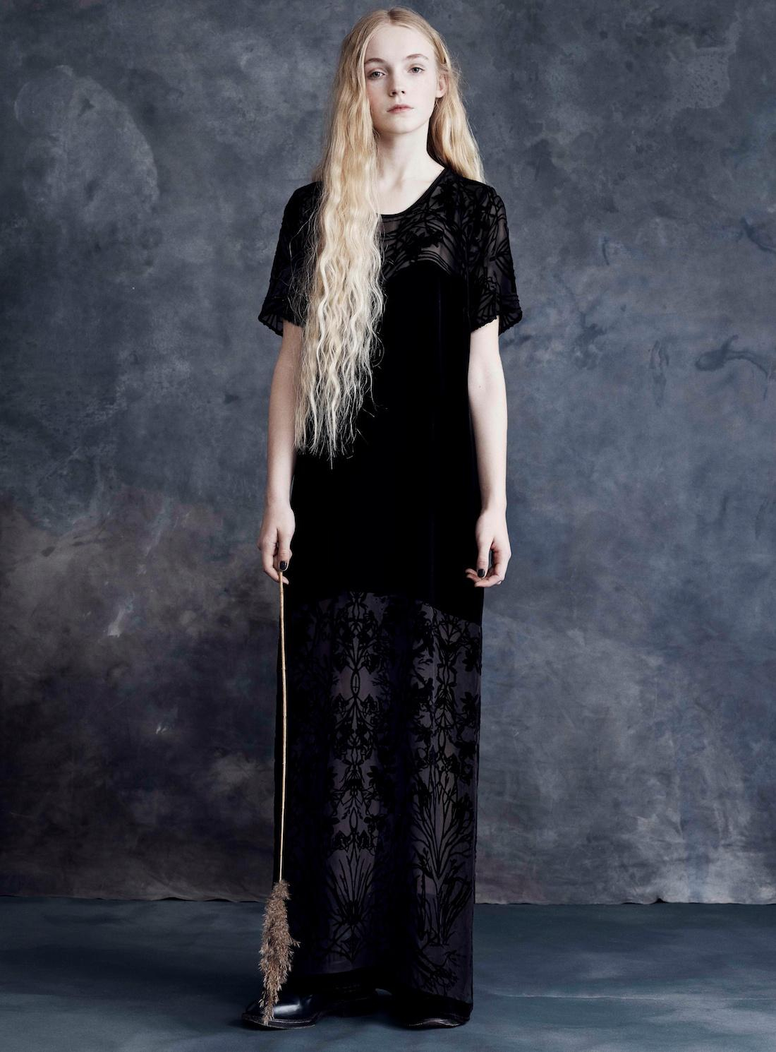 Draw In Light Long Black Velvet Dress With Diaphanous Branches By in ...