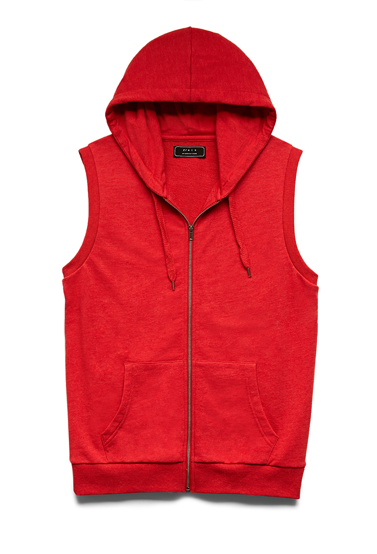 Forever 21 Sleeveless Hoodie in Red for Men | Lyst