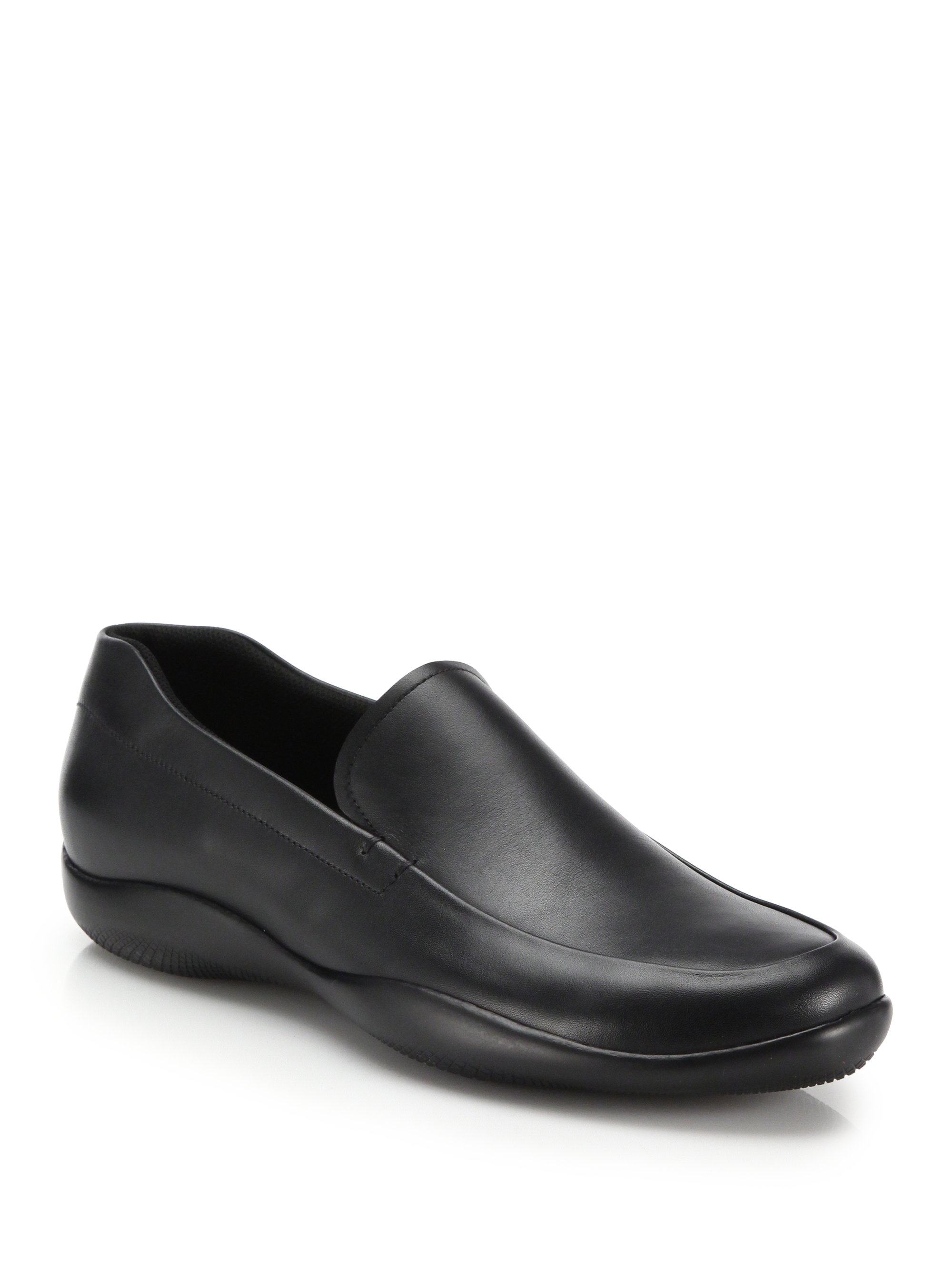 Prada Venetian Soft Calf Loafers in Black for Men Lyst ff697c1a228