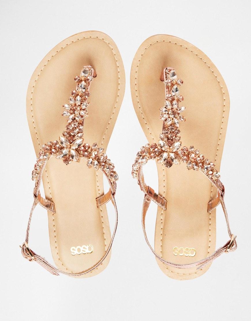 Lyst Asos Fiji Wide Fit Embellished Leather Flat Sandals