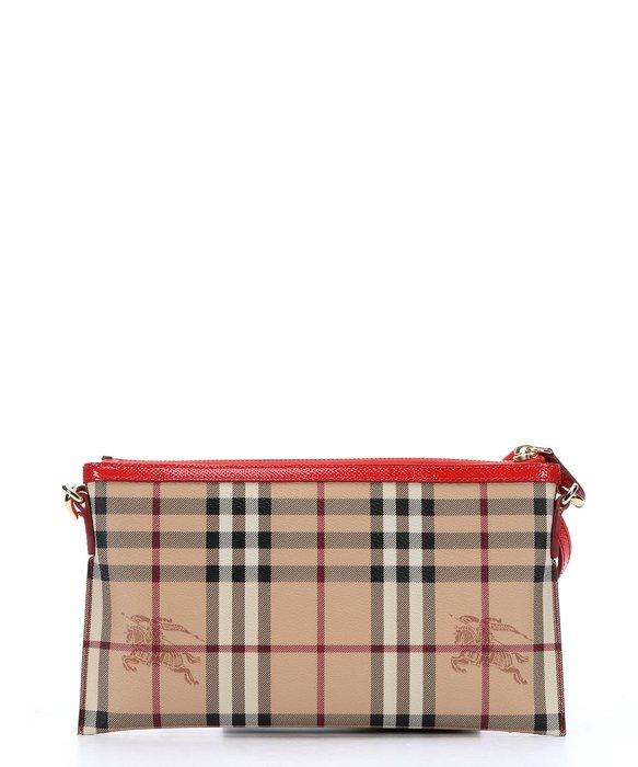 8b108de3f Burberry Red Haymarket Check Coated Canvas 'Peyton' Crossbody Bag in ...