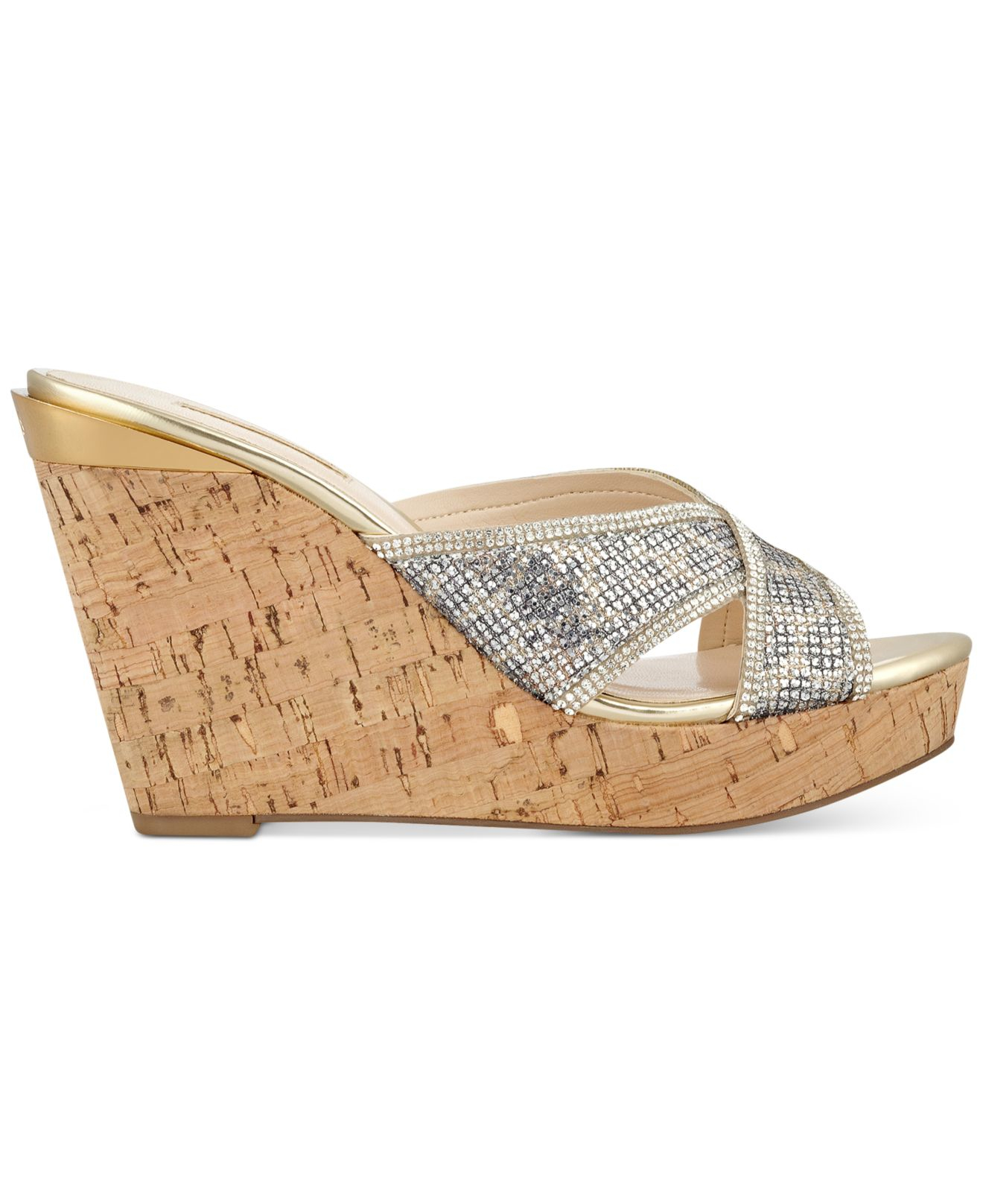 98b5c14bf37 Lyst - Guess Women s Eleonora X Wedge Sandals in Metallic