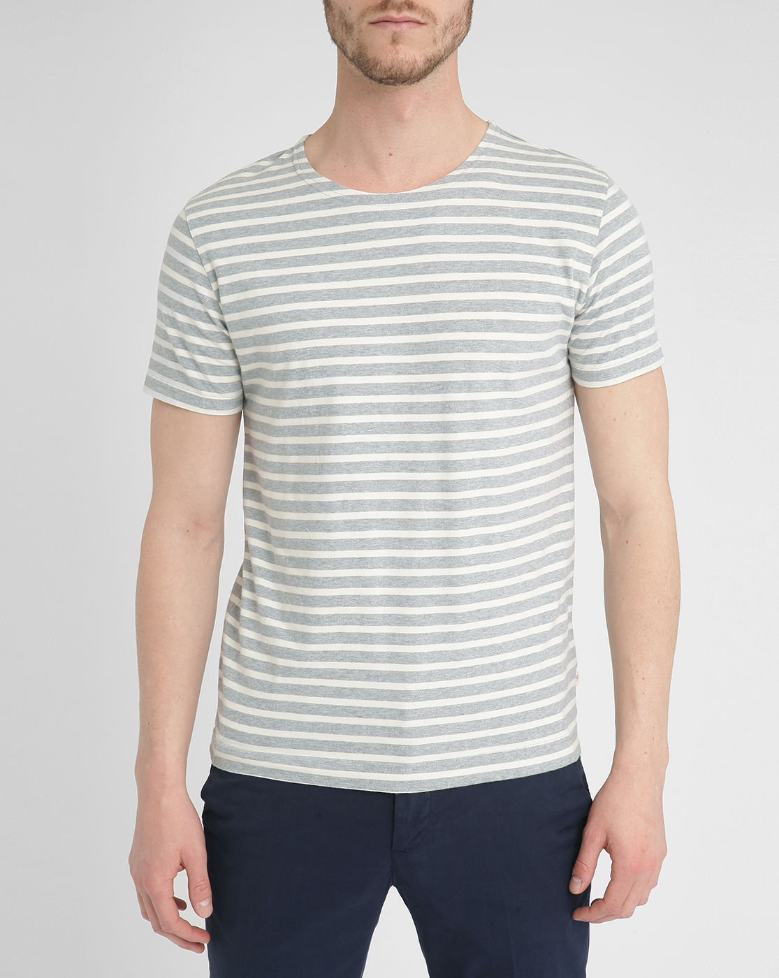 Knowledge cotton apparel grey and white stripe t shirt in Grey striped t shirt