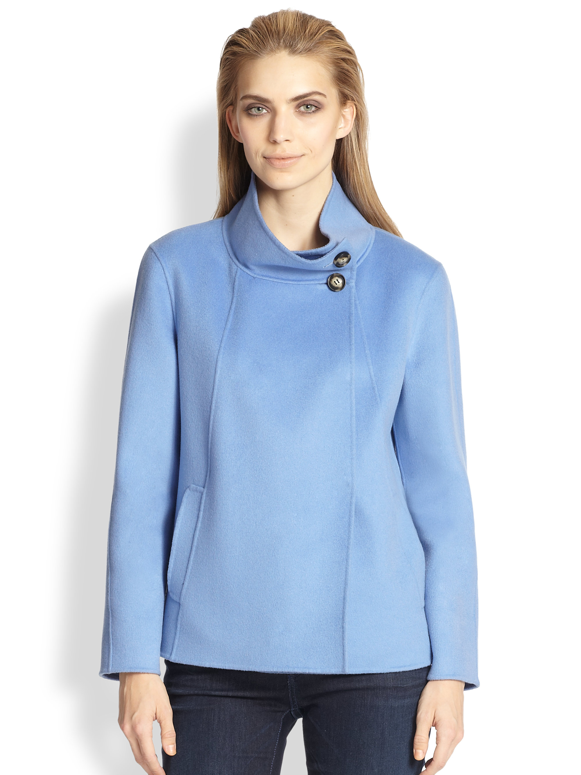 Armani Cashmere Swing Coat in Blue | Lyst
